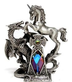 The Settlement Pewter Myth and Magic - Dragon and Unicorn  Figurine