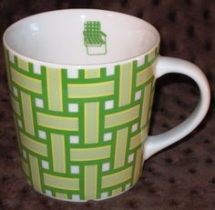 Starbucks Coffee Mug Cup Lawn Chair Green Yellow Webbed Basket Weave 16oz GUC #Starbucks #ThinkSpring