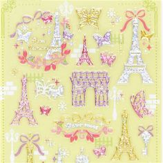 shiny glitter colorful Eiffel Tower butterfly bow stickers by Mind Wave 2