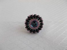 Beaded Ring Swarovski Rivoli 12mm - MichaelaBijoux | Crafty