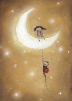 """""""Love on the moon"""". Metal poster available at Displate.com #art #moon #love #valentines #cute #poster"""