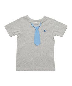 Love this Heather Gray & Blue Stripe Tee - Infant, Toddler & Boys on #zulily! #zulilyfinds