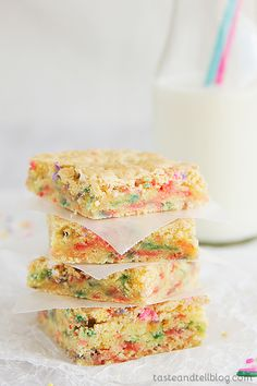 Cake Batter Blondies | Taste and Tell