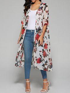 $7.84Rose Print Chiffon Kimono in White | Sammydress.com