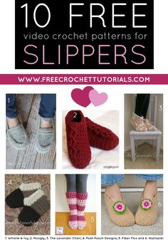 This week's Free Pattern Friday Video Collection includes 10 FREE YouTube Video Crochet Patterns for Slippers. Many of these pretty designs also have written patterns available. They are linked in the post too! via @freecrochettuts