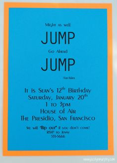 Jump Boy Birthday Parties7th BirthdayBirthday Party InvitationsKid