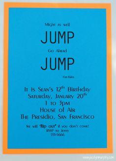 Jump birthday invitation bounce invitation jump birthday party jump stopboris Images