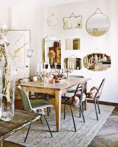 Love this use of a mirror collection - be beautiful when the candles are lit...