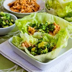 Slow Cooker Recipe for Spicy Shredded Chicken Lettuce Wrap Tacos (or Tostadas) with Avocado Salsa. I love to use this chicken to make Taco Salad as well. [from KalynsKitchen.com] #LowCarb #GlutenFree #Paleo