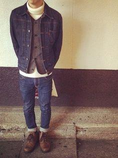 kouheiさんの「THIN FINN「DRY ECRU EMBO」(Nudie Jeans ヌーディージーンズ)」を使ったコーディネート
