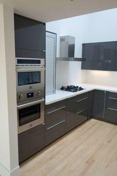 Modern IKEA kitchen in ABSTRAKT gray