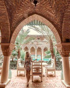 Micheli Fernandes at La Suntana Hotel, in Marrakech Morocco Visit Marrakech, Marrakech Travel, Marrakech Morocco, Morocco Travel, Visit Morocco, New Travel, Travel Goals, Morrocan Architecture, Gothic Architecture