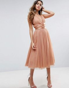 ASOS PREMIUM Tulle Midi Prom Dress With Ribbon Ties #ad #dress