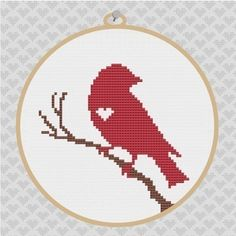 Bird on Branch Silhouette Cross Stitch PDF Pattern por kattuna