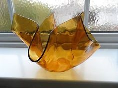 Chance Glass Large Amber Dimpled Handkerchief Vase