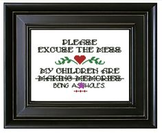 "PATTERN: Modern Embroidery Quote ""Making Memories"" Cross Stitch PDF Instant Download - Funny - Meme - Subversive - Kid - Swear Word - Child by SweetLittleFox on Etsy"