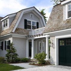 Impressive Detached Garage Plans trend Other Metro Victorian Exterior Innovative Designs with attached garage barn roof black garage doors black shutters breezeway Cape Cod style catwalk