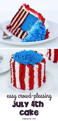Make the 4th of July more exciting with this festive cake! This red, white, and blue dessert will quickly become a crowd-pleaser. Save this pin! Patriotic Desserts, Blue Desserts, 4th Of July Cake, July 4th, How To Make Cake, Food To Make, Flag Cake, I Am Baker, Tasty