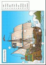 Plaat Piratenschip - woordveld niveau 1