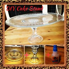 Plate + candle stick holder + gorilla glue = diy cake stand. Total cost: $2 ( dollar store)