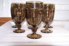 Set 6 Libbey Crisa Gibraltar Boston Smokey Brown Duratuff Water Goblet Glasses