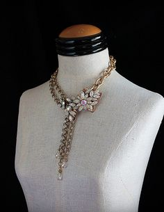 A MANY SPLENDORED THING Repurposed Vintage Chain and Crystal Statement Necklace on Etsy, $225.00