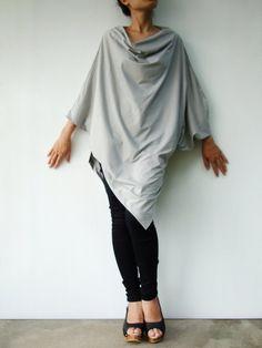 NO.63 Dusty Grey Cotton Jersey Asymmetrical by JoozieCotton