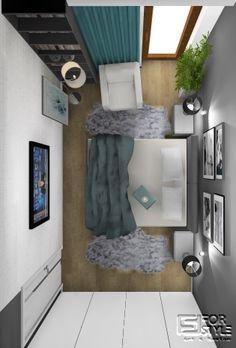Sypialnia nowoczesna, przestronna, w szarości i bieli z dodatkiem turkusu, duża zabudowa, regał na książki i fotel do czytania, relaksu, design ... Projektowanie wnętrz 4-style.pl