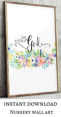 This a beautiful inspiring quote, perfect as wall art decor for a girl nursery. Christian nursery decor, Printable art, Bible verse print, A child of God print, Nursery wall art, Scripture prints, Baptism gift, modern nursery, farmhouse nursery, baby shower gift, instant download #afflink