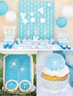 Modern dandelion birthday party sweets table.  The crafts and activities are very cute.