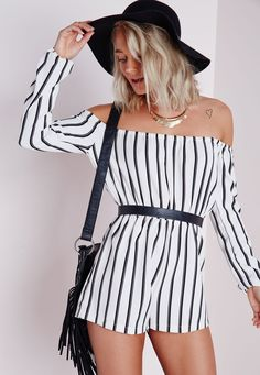 Work the hottest trends all in this one chic playsuit. We love the black striped fabric, sweet bardot style and elasticated waist creating bohemian vibes with a contemporary twist. Style this piece with cross strap heeled gladiator sandals ...