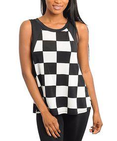 4129e1b8f1 Black   White Square Color Block Linen-Blend Sleeveless Top
