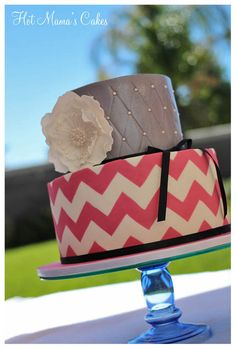 chevron and pin cushion cake, if I were every to have a big birthday party, this is the cake for me!!!!