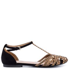 Vamp up your everyday look with the Veeta.  This eye catching sandal by ZiGi Soho features soft nude and black fabric paired together for a versatile touch.  An adjustable t-strap forms an incredible lattice design completed with shimmering stones.