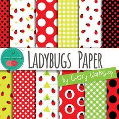 "Summer Digital Paper ""Ladybugs Paper"" Cute spring or summer digital paper patterns - polka dot, geometric, gingham, floral patterns"