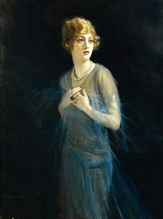 """In Tade Styka painted this haunting portrait of Marion Davies. Davies is one of the major characters in """"Haunting at Ocean House,"""" the fifth and final James Murray mystery. Marion Davies, She's A Lady, Illustrations, Sculpture, Impressionist, Retro, Vintage Ladies, The Past, Art Gallery"""