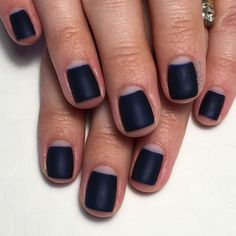 Matte navy negative space gel manicure. See more of my designs on my nail board @jgchef13 or my IG account @jgchef13.