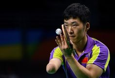 China's Yang Ge wins the gold medal in his match against Poland's Patryk Chojnowski in the men's singles - Class 10 gold medal match table tennis at the Riocentro during the Paralympic Games in Rio de Janeiro, Brazil on September 12, 2016. Handout photo by Thomas Lovelock for OIS/IOC via AFP. RESTRICTED TO EDITORIAL USE. / AFP / IOS/OIC / Thomas Lovelock for OIS/IOC