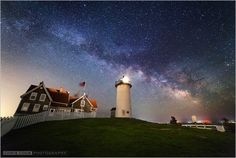 """""""Galaxy Rise"""" over Nobska Light in Woods Hole on 5/14/15. By Chris Cook Photography www.cookphoto.com"""