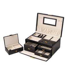 This Black Leather 2 Level Jewelry Box is designed with genuine leather for you. It features multi compartments, soft scratch resistant velour lined, two drawers, locking clasp. Jewellery Boxes, Jewellery Storage, Jewelry Box, Fine Jewelry, Custom Gift Boxes, Snow Fashion, Box Design, Drawers, Black Leather