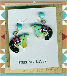Southwest Turquoise Zuni Bear Post Earrings Gemstone Inlay Sterling Silver | eBay