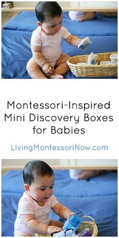 Mini discovery boxes within treasure baskets - a way for babies (and toddlers) to safely enjoy little objects that are a choking hazard.