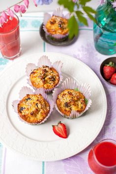 Banana Coconut Muffins with Dried Blueberries and Hemp Seeds