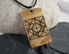 Quilt Block Necklace Traditional Quilt Pattern by SepiaTree #quiltblock #necklace #pendant #woodnecklace #woodpendant #handmade #leathernecklace