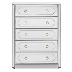 Glam Lifestyle. The Harlow bedroom chest brings chic glamour back. By its very nature, the design amplifies the size of any room, and, wrapped in mirrors, this chest makes your bedroom bright and airy. Nickel ring hardware really pops against the silver painted wood framework and mirror facades. Deep drawers provide lots of storage, and rounded front corners soften the angles.