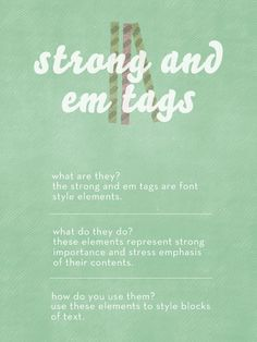html: strong and em tags