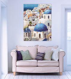Acryl Gemälde 'Urlaub auf Santorin' 75x100cm Throw Pillows, Bed, Home, Santorini, Summer Vacations, Greece, Living Room, Cushions, Stream Bed