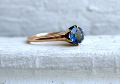 Beautiful Vintage 14K Rose Gold Sapphire Solitaire Engagement Ring