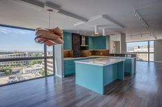 Great contemporary custom kitchen in luxury high rise in Salt Lake City.