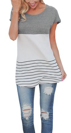 0402f3e177b16 Chvity Womens Color Block Striped Short Sleeve TShirt Blouse Tops M Gray     See this